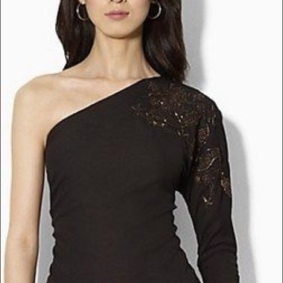 Lauren Ralph Lauren Tops - Lauren Black, one shoulder blouse, beaded Dragon